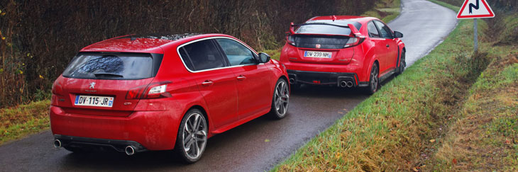 comparatif honda civic type r 2015 vs peugeot 308 gti 270 2 2. Black Bedroom Furniture Sets. Home Design Ideas